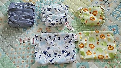 3x All in one Modern cloth nappies and inserts bambooty