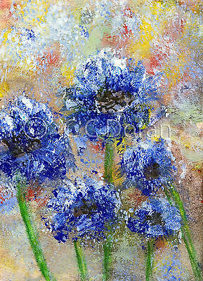 ACEO Ltd.Ed.Print Original Abstract Blue Flowers Floral FA076 Art Painting