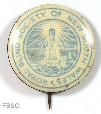 Vintage Royal Blind Society of NSW 1/- Pin Badge - Pale Blue