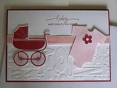 Handmade Congratulations Baby Girl Card Using Stampin' Up! Products.