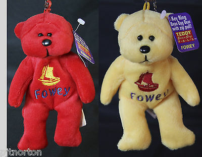 Fowey Embroidered Teddy Bear Bean bag soft toy keyring zip pull beanie plush