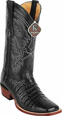 e187c43dda1 MEN'S KING EXOTIC Genuine Caiman Belly Western Boots Wide Square Toe  Handmade