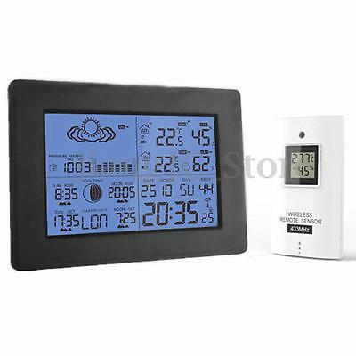 LCD Wireless Weather Station Calendar Clock Thermometer Humidity With Backlight