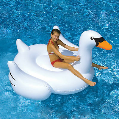 White Summer Lake Swimming Lounge Pool Child Rideable Swan Inflatable Float Toy
