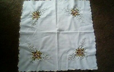 "Vintage Cotton Table Cloth with Embroidered Yellow Rose Design 27"" x 27"""