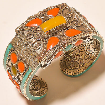 Gorgeous Turquoise With Red & Yellow Coral Handmade .925 Silver Jewelry Cuff