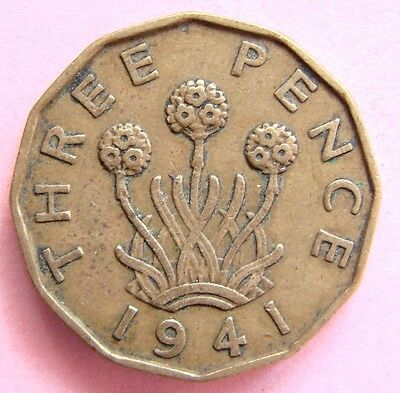 Collectable Great Britain Scarce  1941 King George Vi Brass Threepenny Bit Coin