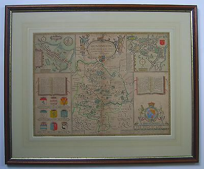 Huntingdonshire: original antique map by John Speed, 1676