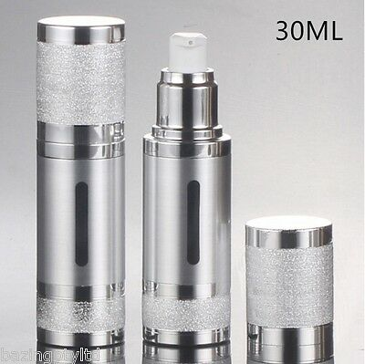 Silver UV Protection 30ml Airless Pump Plastic Bottle Container Lotion Serum