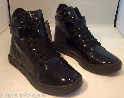 Briers Black Patent Ankle Boots Boppers Trainers Gardening Waterproof UK8 NEW