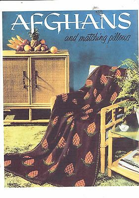 Vintage retro photo copy crochet pattern for AFGHANS AND MATCHING PILLOWS