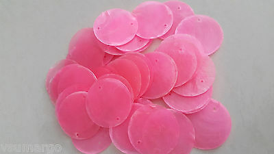 """50 Round Capiz Shell Disks 1.5"""" Pink - Two Hole"""