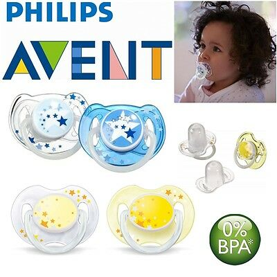 Avent Glow in Dark Orthodontic Baby Pacifier Dummy Night Time Soother