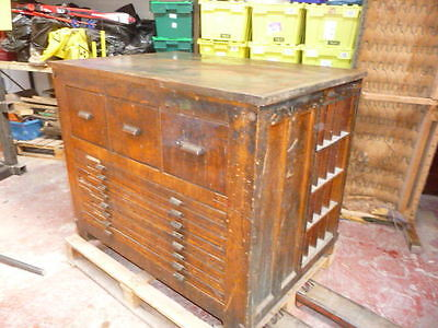 Antique Letterpress Printers Imposing Bench/table With Steel Top And Drawers