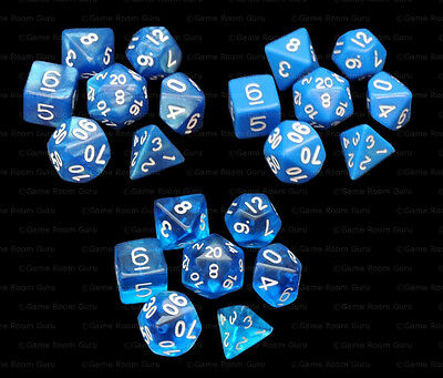 3 Sets of 7 Polyhedral Dice - Blue Bonanza - Marble Translucent Opaque - 3 Bags