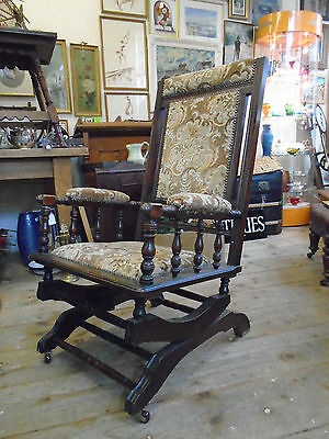 Antique late 19th Century Victorian Mahogany American Rocking Chair