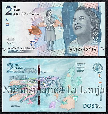 B-D-M Colombia 2000 pesos 2016 Pick New AA SC UNC