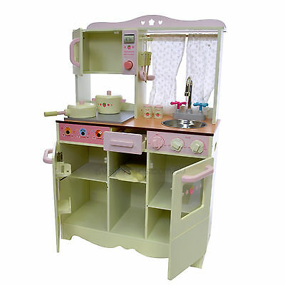 Children Wooden Kitchen Play Set Cream Colour Traditional Cottage Cooking Toy