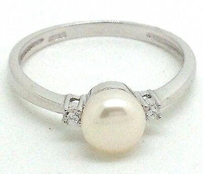 pearl ring solid Sterling Silver freshwater UK size P, 3-stone New UK Seller