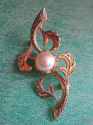 Vintage Fashion Brooch with Faux Pearl - Costume Jewellry
