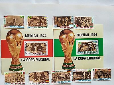 Nicaragua Stamps Football 1974 World Cup . 2 Sets