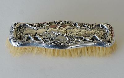 Victorian Sterling Silver Clothes Brush ~ Hunting Dogs, Horse, & Fox