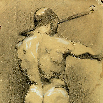 Male nudes um 1900 Art Nouveau Akt Akademie Drawing France Hand drawing