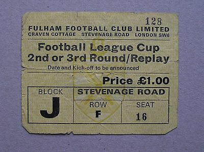 FULHAM v WEST HAM UNITED League Cup 3rd Round 08/10/1974 (Match Ticket)