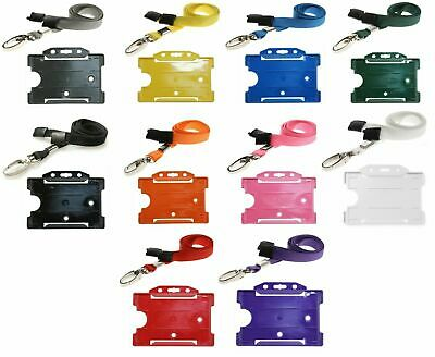 Double Sided Id Card Pass Holder And Id Soft Neck Lanyard Strap With Metal Clip