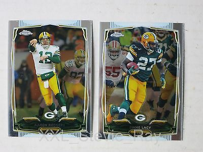 AARON RODGERS & EDDIE LACY - 2 Topps Chrome 2014 Karten - GREEN BAY PACKERS Lot
