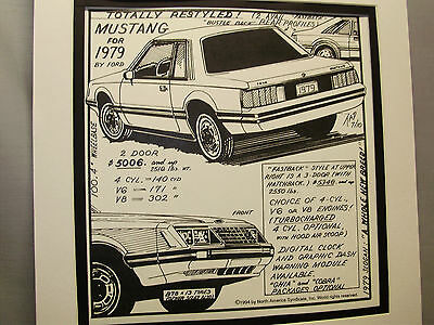 1979 Ford Mustang   Auto Pen Ink Hand Drawn Poster  Automotive Museum Special