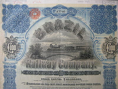 1909 Brazil Railway Company First Mortgage 60-Year Gold Bond £100 Pounds