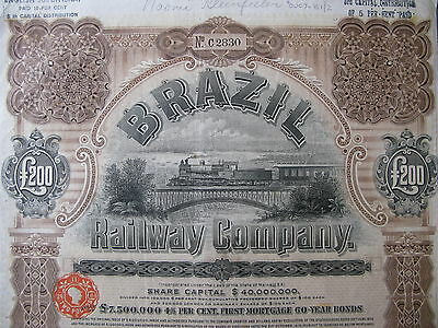 1909 Brazil Railway Company First Mortgage 60-Year Gold Bond £200 Pounds