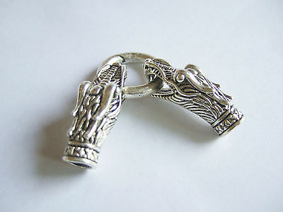 3 Sets Antique Silver Dragon Bracelet End Cap With Spring Clasp For 6mm Leather