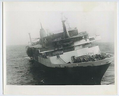 1980 MS Prinsendam B&W Photo - Abandoned After Fire - Holland America Line