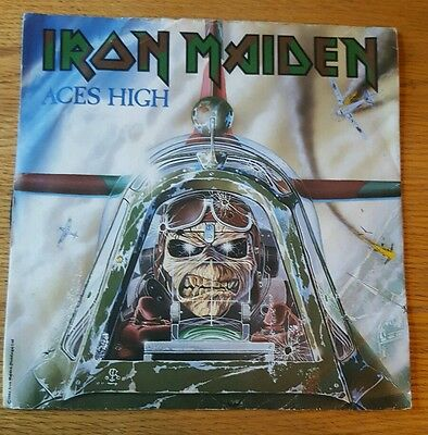 """Iron Maiden  Aces High  7""""  1984  Emi  Paper Sleeve"""