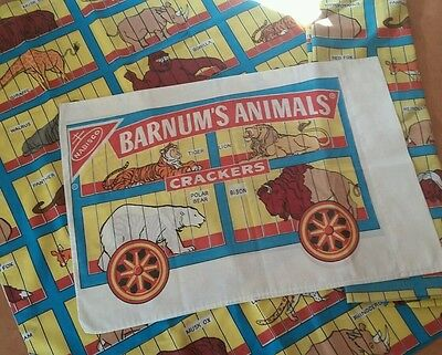 Vintage nabisco barnum's animal crackers twin bed sheets bedding set premium