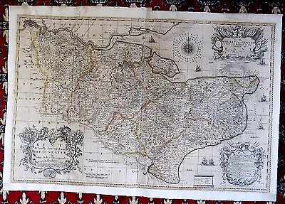 1681 Seller Kent Actually Survey'd Old Antique Map Large 95x65 VERY SCARCE
