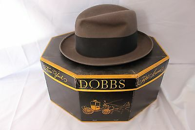 Vintage 50's 60's DOBBS FIFTH AVENUE Men's Gray FEDORA Hat with Box SIZE 7 1/4