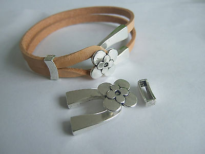 5 Sets Antique Silver Double Strand Flower Wishbone Clasp For 5mm Flat Leather