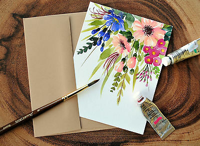 """Set of 3_ Original Hand painted watercolor floral greeting card_ 4.5""""x5.5"""""""