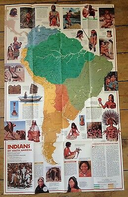 1982 National Geographic Society Large Map - Indians Of South America