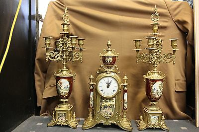 Antique Italian Imperial french style brass & porcelain mantle clock garnitures
