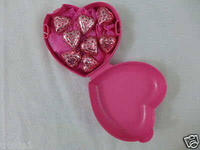 Tupperware heart shaped keeper pink filled new