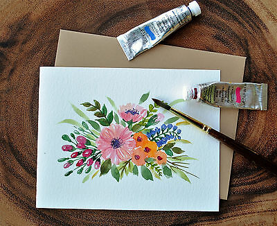 "Set of 3_ Original hand painted Watercolor Floral greeting cards_4.5""x5.5"""