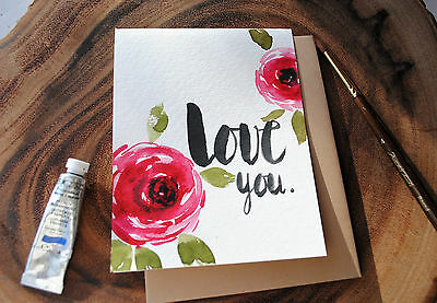 Original Hand painted Valentine's/ Anniversay/ Love you card