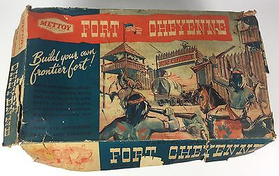 Fort Cheyenne Vintage 1950's Playset W/plastic Soldiers Figures, Mettoy, Boxed