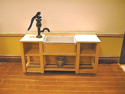 1/12th Dollshouse Miniature Double Drainer Sink Unit with Lead effect lined Sink