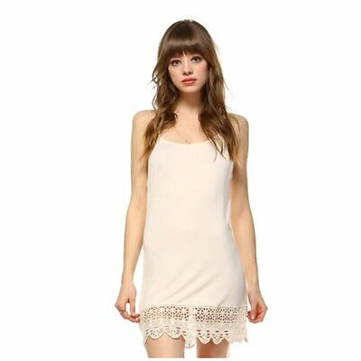 Cream Camisole Long Tank Slip Top Extender Crochet Lace Hem