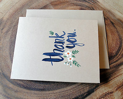 "Set of 5_Original Hand painted Thank you  cards_Brown 4.5""x5.5"""